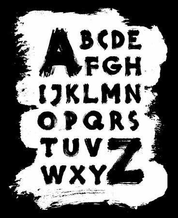 Detailed hand written brush font. Vector alphabet Çizim