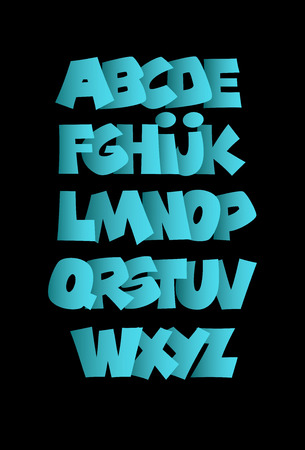 Blue bold alphabet. Vector alphabet