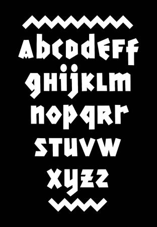 Hand drawn bold font. Editable vector alphabet Çizim