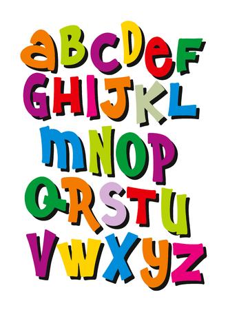 Bright cartoon comic graffiti font. Editable vector alphabet Çizim