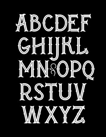 Fuente original de estilo art nouveau vintage. Alfabeto vectorial