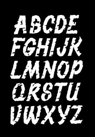Hand lettering grunge font. Vector alphabet