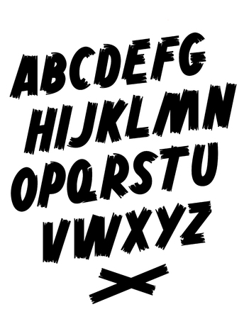 Brush font. Hand lettering. Editable vector alphabet. Ilustrace