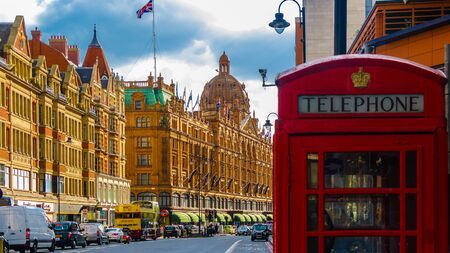 harrods: The typical red phone box Editorial
