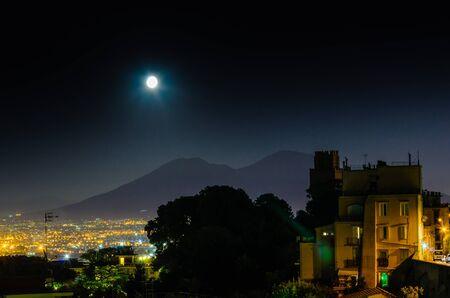 Vesuvius from Capodimonte hill in Naples by night