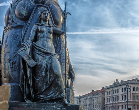 halberd: Unity of Italy square, woman statue, Trieste Italy