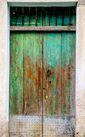 green door: Old green door Stock Photo