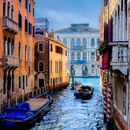 sea of houses: Colorful canal in Venice, Italy