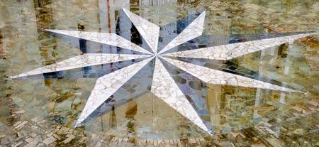 puntos cardinales: piso mojado con un compás