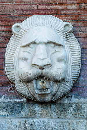 lionhead: One lion-head fountain