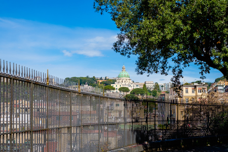 buon: Above a gate, the view of Capodimonte hill and Good Council Church. Naples - Italy