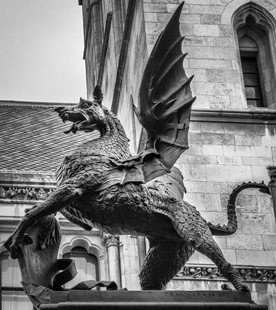 The dragon on top of Temple Bar monument closeup. London, UK