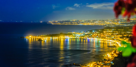 Taormina cloudy mediterranean sunset. Ionian sea, Sicily, Italy Reklamní fotografie