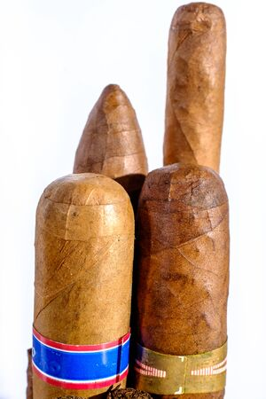 cancer foot: Head of Cuban cigars vertically Stock Photo