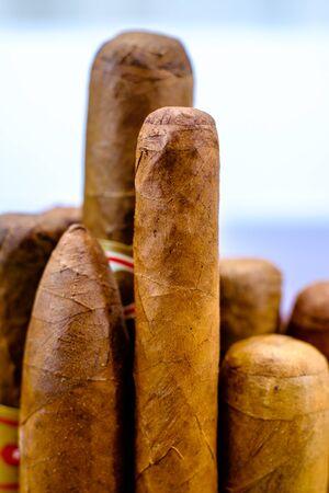 vertically: Head of Cuban cigars vertically Stock Photo