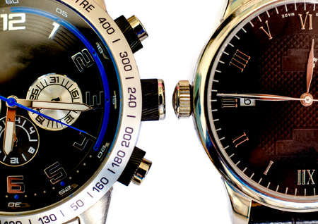 Two wristwatches closeup isolated