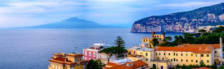 Sorrento panorama, Vesuvius and mediterranean sea. Campania, Italy
