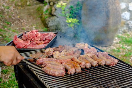 barbecued chicken, pork and beef meats