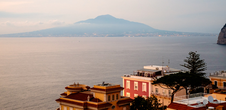 Sorrento sunset panorama, Vesuvius and mediterranean sea. Campania Italy