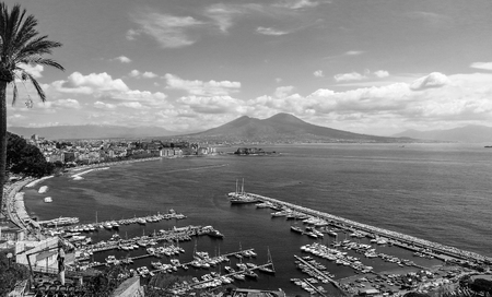 Naples landscape from Posillipo hill. Black and white. Italy