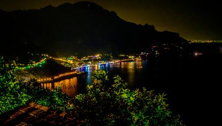 Maiori and Minori seen from Ravello by night. Mediterranean sea and Amalfi coast Italy Reklamní fotografie