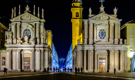 The night in St. Charles Square. Turin, Italy Reklamní fotografie