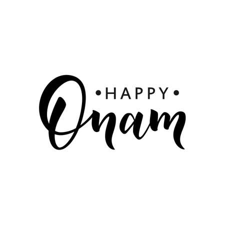 Happy Onam greeting lettering.