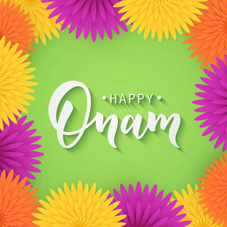 onam: Happy onam greeting lettering.