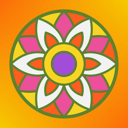 Traditional indian ornament rangoli greeting card concept. Stock Vector - 84013578