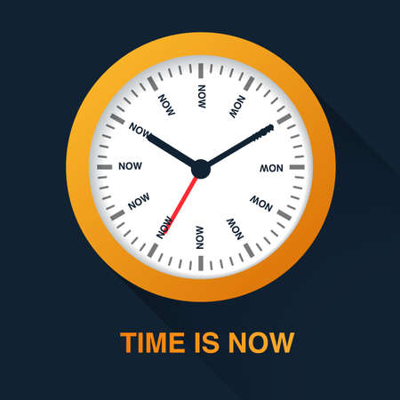 Time is now concept. Watch symbol illustration on dark background. Time management. Stock Photo