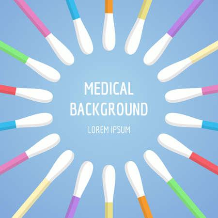 Hisopos, orejeras en estilo plano sobre fondo azul. Herramientas médicas, objetos de higiene. Ilustración de vector