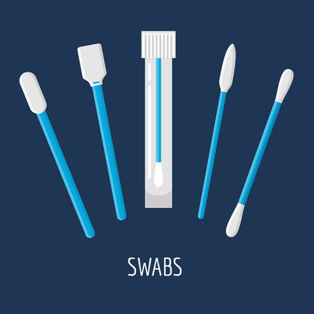 ear bud: Different swabs, ear stick in flat style on blue background. Medical tools, hygiene objects. Illustration
