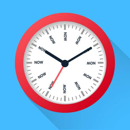Time is now concept. Watch symbol illustration on dark background. Time management. Illustration