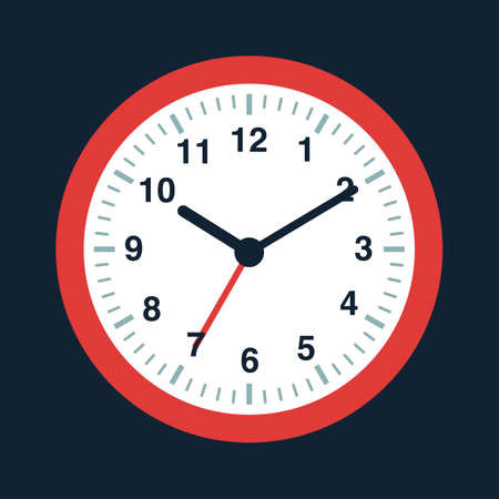 Vector flat style illustration of watch. Isolated on blue background. Time management.