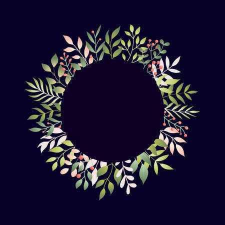 Vector illustration of spring leaves in flat style. Floral dark blue background with copy space for text, tender plants branches for poster, round banner, wedding card circle template.