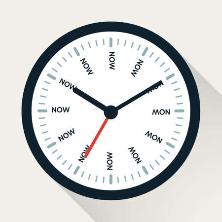 Time is now concept. Watch symbol illustration on white background. Time management