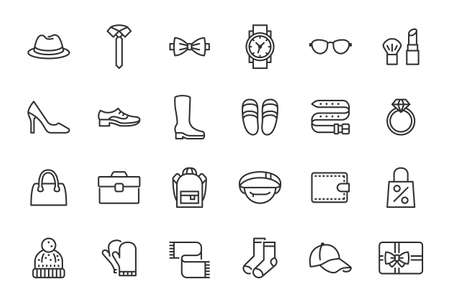 Accessory, Fashion Line Icons. Vector Illustration Included Icon as Footwear, High Heels Shoes, Bow Tie, Backpack, Knitted Clothes and other Apparel Flat Pictogram for Cloth Store. Editable Stroke