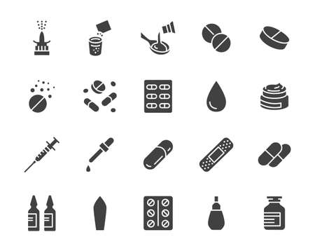 Drug, Pharmacy Medical Silhouette Flat Icons. Vector Glyph Illustration Included Icon as Effervescent Pills, Cough Syrup Bottle, Gel, Antibiotic Capsule and other Pharmaceutical Pictogram