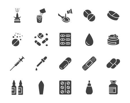 Lek, apteka medyczne sylwetka płaskie ikony. Ilustracja wektorowa glifów zawiera ikonę jako tabletki musujące, butelka syropu na kaszel, żel, kapsułka z antybiotykiem i inne piktogramy farmaceutyczne