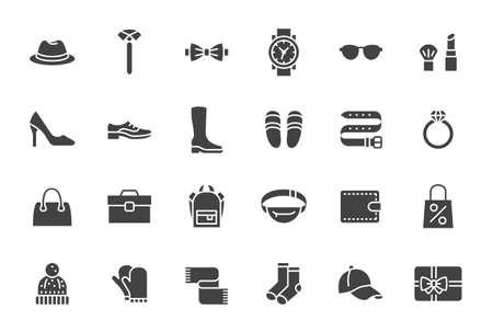 Accesorios, iconos de silueta de moda. La ilustración del vector incluye el icono como calzado, zapatos de tacones altos, pajarita, mochila, ropa de punto y otro pictograma plano de ropa para tienda de ropa
