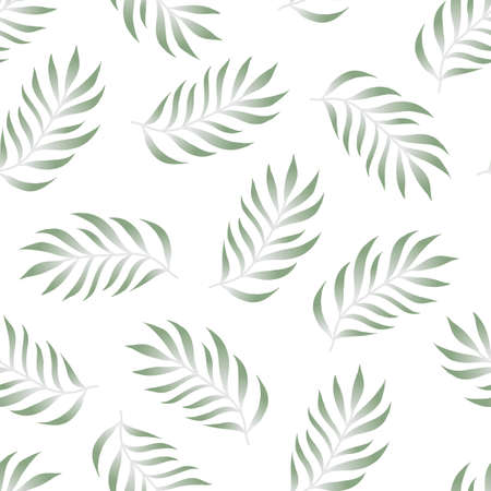 Tropical seamless pattern with fern, palma leaves, green color branches on white background. Floral vector summer backgound