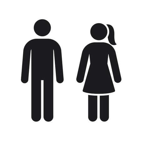 Men women vector sign, toilet silhouette symbol. Black gender stick figures for male and female bathroom