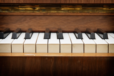 transcription: Closeup of old piano keyboard  Stock Photo