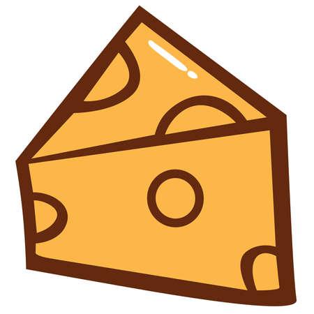 italian sausage: Cheese Slice Clipart Vector Illustration