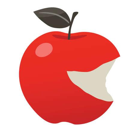 mimic: delicious bitten red apple vector