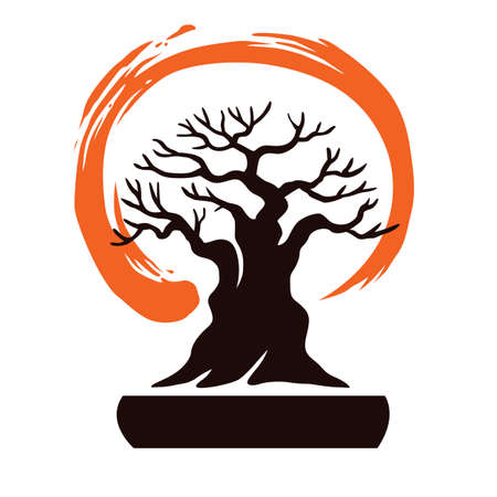 bonsai: Japan Bonsai with Zen Symbol Vector