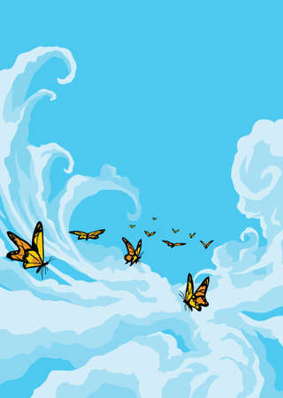 blue cloudy sky: Butterflies Flying in the Cloudy Blue Sky