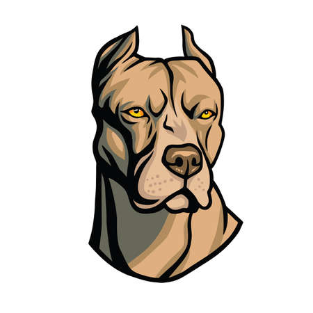 stafford: Pit bull head cool vector Illustration