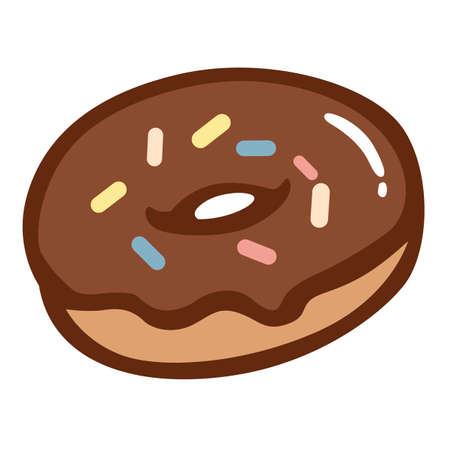 fattening: Chocolate Donut with Colourful Sprinkles Illustration