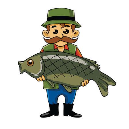 pecheur: Fisherman Porter Big Fish Cartoon Vector Illustration